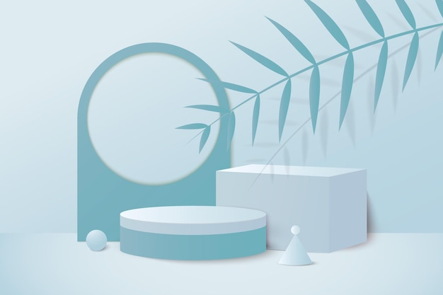 Renderização 3d em azul pastel de fundo com pódio e cena mínima de parede azul