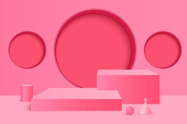 Renderização 3d rosa com pódio e cenário mínimo de parede rosa palco para prêmios no site moderno