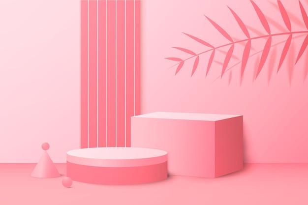 Renderização 3d rosa em plano de fundo com pódio e cena mínima de parede rosa