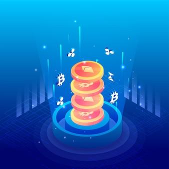Renderização 3d, sobrepondo moedas criptográficas no fundo azul do circuito.