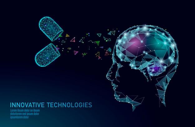 Renderização de baixo poli de tratamento cerebral. droga nootropic capacidade humana estimulante saúde mental inteligente. reabilitação cognitiva medicamentosa em pacientes com doença de alzheimer e demência