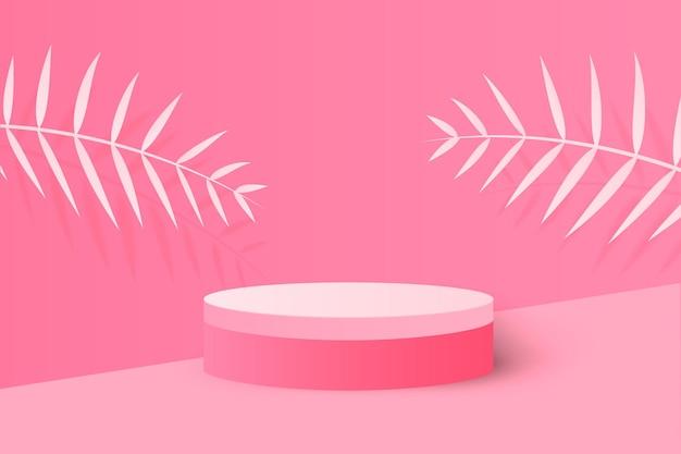 Renderização de fundo rosa com pódio e cena mínima de parede rosa