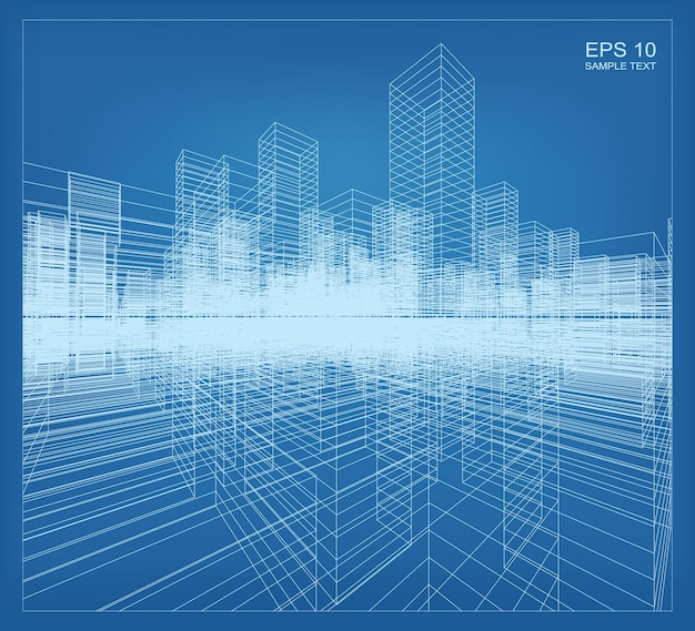 Renderização de perspectiva 3d abstrata de construção de wireframe. idéia gráfica de construção arquitetônica. ilustração vetorial.