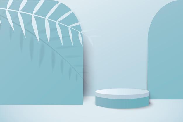 Renderização em azul pastel de fundo com pódio e cena mínima de parede azul