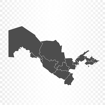 Renderização isolada do mapa do uzbequistão
