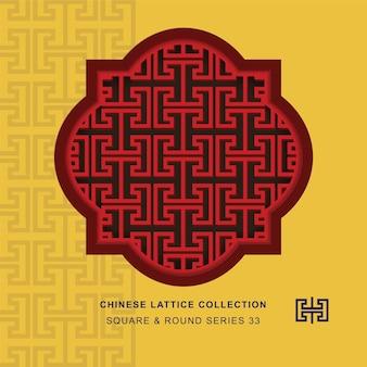 Rendilhado de janela chinesa moldura redonda quadrada de geometria espiral