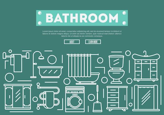 Renovação de banheiros em estilo linear