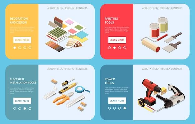 Renovação de casa, faça você mesmo, banners isométricos coloridos com design 3d, pintura de ferramentas elétricas e elétricas, ilustração isolada