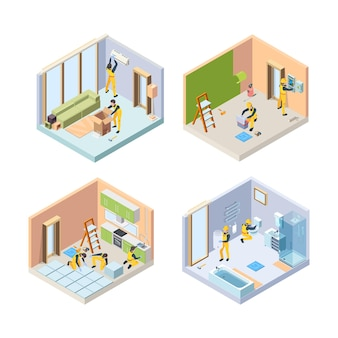 Renovar paredes de pintura de piso reparar pessoas de ilustrações de quartos de casa de banho.