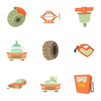 Repair machine set, cartoon style