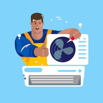 Reparação de aparelhos de ar condicionado. manutenção e instalação de sistemas de refrigeração