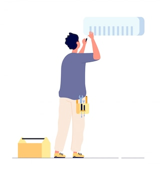 Reparação de ar condicionado. técnico de homem fazendo condicionadores de ar de manutenção. fixação doméstica ac, conceito de serviço de condicionamento de casa