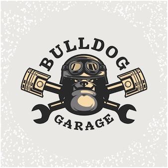 Reparação de automóveis com cabeça de cão e logotipo personalizado da garagem.