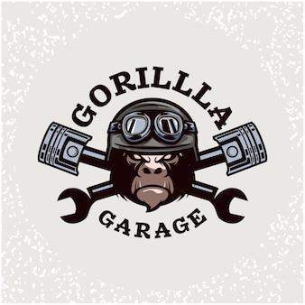 Reparação de automóveis com cabeça de gorila e logotipo personalizado da garagem