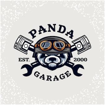 Reparação de automóveis de cabeça de panda e logotipo de garagem personalizado.