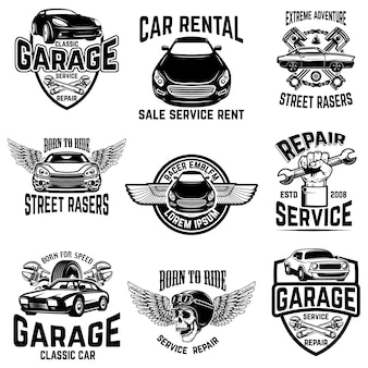 Reparação de automóveis, garagem, emblemas de serviço automóvel. elementos de logotipo, etiqueta, sinal. imagem