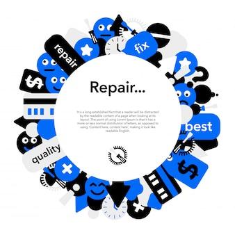 Reparação de banner de quadro de círculo de equipamentos móveis