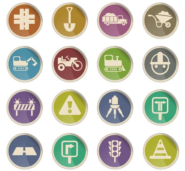 Reparação de estradas ícones vetoriais na forma de etiquetas redondas de papel