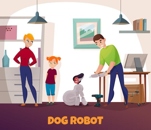 Reparação de robôs para cães com eletrônica e tecnologia