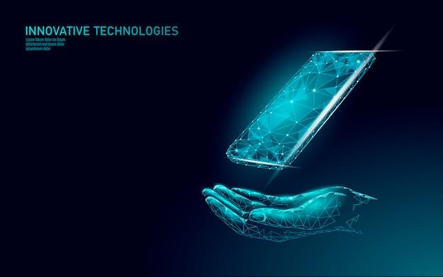 Reparação de serviço telefônico ajuda o conceito de negócio. tela quebrada do smartphone móvel do cuidado da mão. dados de bug de erro de software perdidos. alerta de segurança de informação de ataque de vírus