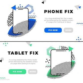 Reparação de telefones celulares e banners eletrônicos de serviço