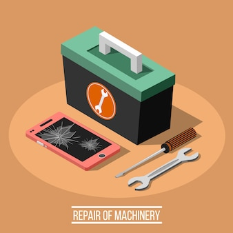 Reparação do conceito de design isométrico de máquinas