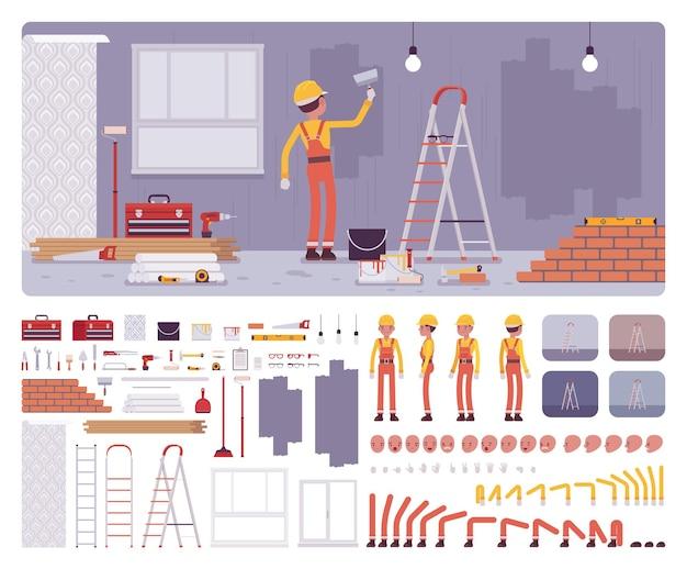 Reparação do interior do local de trabalho de apartamentos