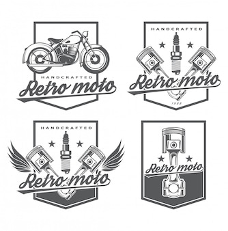 Reparação do logotipo e restauração de equipamentos antigos. clássicos da garagem. logotipo elegante para reparos do carro. ícone para loja online de peças. conjunto de emblema com pistão e moto.