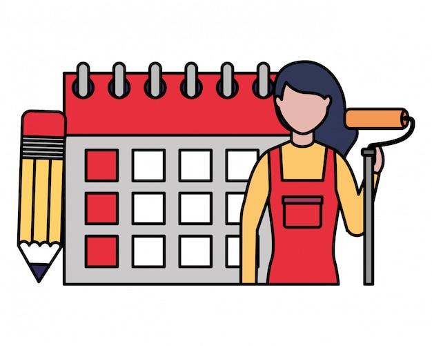 Reparação mulher calendário dia do trabalho