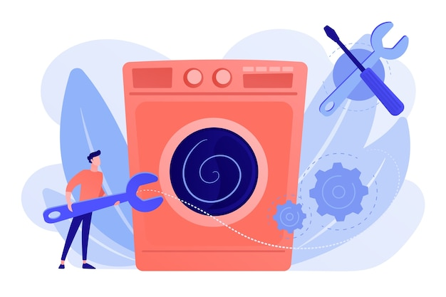 Reparador de serviço com máquina de lavar de reparação de chave grande. conserto de eletrodomésticos, serviço de tv inteligente, conceito de serviços mestre doméstico