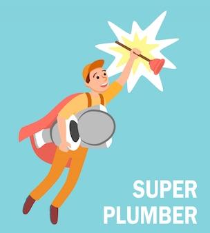 Reparador de super-herói dos desenhos animados com êmbolo de banheiro