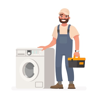 Reparador feliz e máquina de lavar