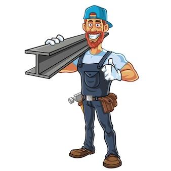 Reparador, trabalhador da construção civil, barbudo, hipster, desenho, personagem, vetorial, design