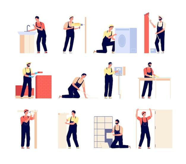 Reparador. trabalhadores domésticos, carpinteiro eletricista e pintor. homens planos com ferramentas de reparo, renovação de pessoas trabalhando. conjunto de vetores de faz-tudo. faz-tudo de manutenção, empreiteiro e reparador