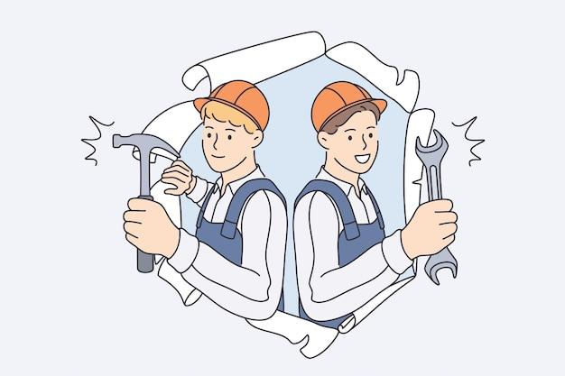 Reparadores durante o conceito de trabalho de construção