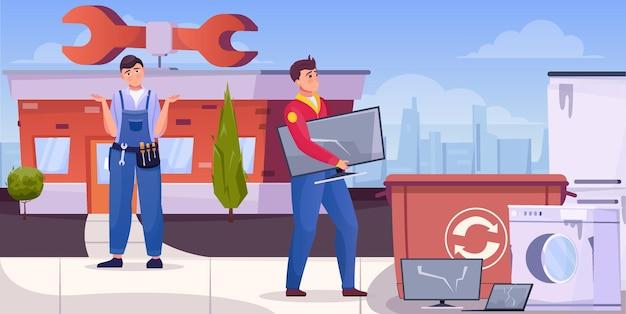 Reparadores jogando lixo em casa técnica para reciclagem de ilustração plana