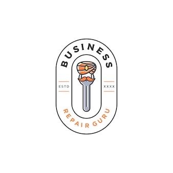 Reparar guru logotipo vintage design ilustração
