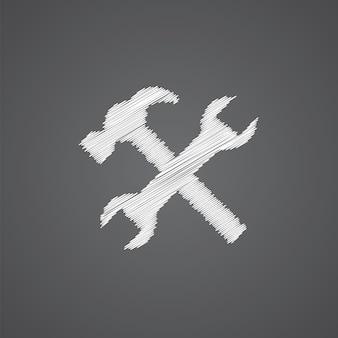 Reparar o esboço do logotipo do ícone do doodle isolado em fundo escuro