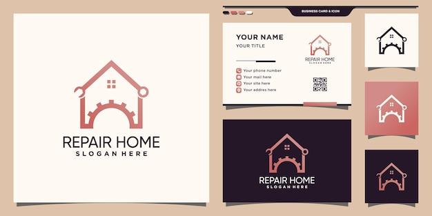 Reparar o logotipo da casa com um estilo de arte de linha exclusivo e design de cartão de visita premium vector