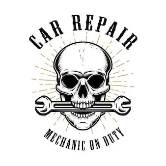 Reparo de carros. crânio humano com chave na boca. elementos para cartaz, emblema, sinal, camiseta. ilustração