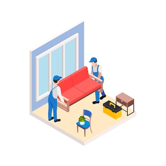 Reparo de reforma funciona composição isométrica com personagens de dois trabalhadores carregando sofá