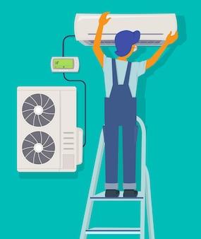 Reparo do condicionador. personagem de reparador instalando itens de manutenção para casa conceito de proteção de ventilação fria da casa.