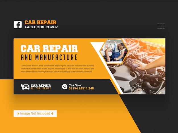Reparo e fabricação de automóveis capa do facebook modelo de banner de mídia social
