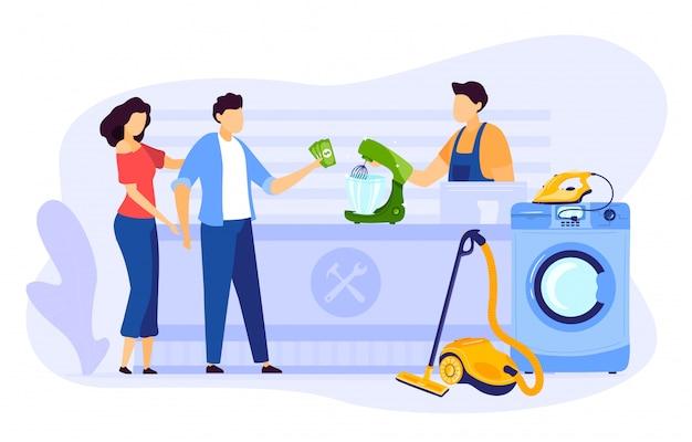 Reparo eletrônico na ilustração do centro de serviço, pessoas de família plana dos desenhos animados pagam para reparar o aparelho elétrico em casa profissional