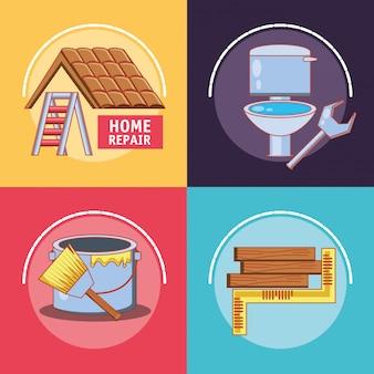 Reparo em casa com ferramentas conjunto de ícones