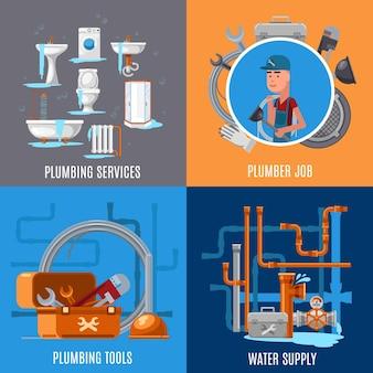 Reparo sanitário e conceito de encanamento. ilustração de trabalho de encanador e serviços de encanamento
