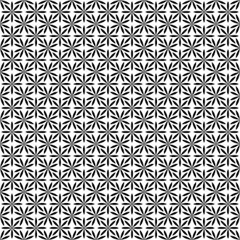 Repetição de padrão de flor estilizado monocromático abstrato - fundo de vetor floral geométrico a partir de formas curvas