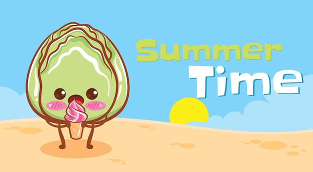 Repolho fofo segurando sorvete com uma faixa de saudação de verão