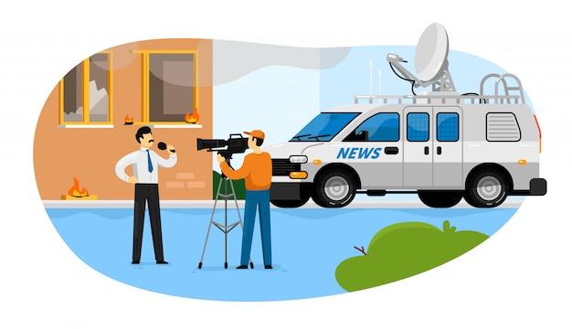 Reportagem de notícias. jornalista homem com microfone