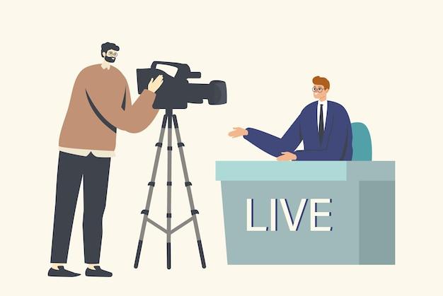 Reportagem, transmissão ao vivo no estúdio de produção